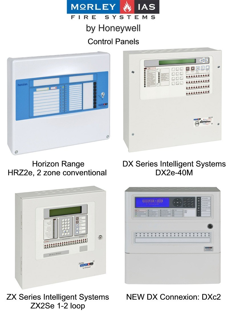 Morley- IAS Control panels supplied by CLC Fire Alarms, Ireland - Horizon Range HRZ2e, 2 zone conventional, DX Series Intelligent Systems DX2e-40M, ZX Series Intelligent Systems ZX2Se 1-2 loop, NEW DX Connexion: DXc2